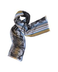 KENZO | Blue Signature Jacquard Wool Scarf | Lyst