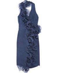 Notte by Marchesa | Blue Ruffled Silk-chiffon and Organza Halterneck Dress | Lyst