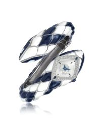 Roberto Cavalli - Metallic Snake Stare - Blue and White Diamondback Snake Watch - Lyst