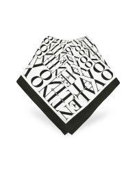 Valentino | Black & White Signature Twill Silk Square Scarf | Lyst