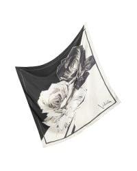 Valentino - Black Contrasting Flower Silk Scarf - Lyst