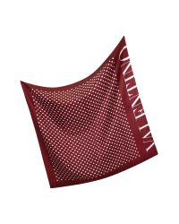 Valentino | Red and White Dots Silk Square Scarf | Lyst