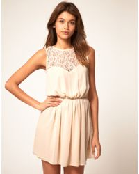 ASOS Collection | Pink Asos Skater Dress with Lace Cross Back | Lyst