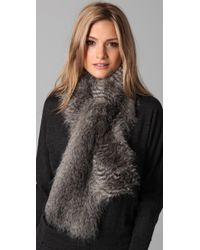 Club Monaco | Gray Faux Fur Scarf | Lyst