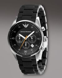 Emporio Armani | Silicon-wrapped Bracelet Watch, Black for Men | Lyst