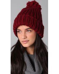 Eugenia Kim | Red Rain Chunky Cuffed Pom Hat | Lyst