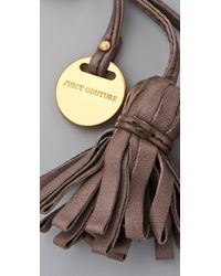 Juicy Couture - Brown Leather Tassel Keychain - Lyst