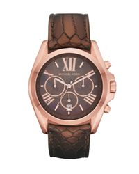 Michael Kors | Brown Bradshaw Python-embossed Chronograph Watch | Lyst