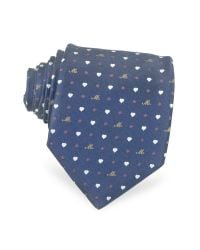 Moschino | Blue Hearts and Dots Silk Tie for Men | Lyst