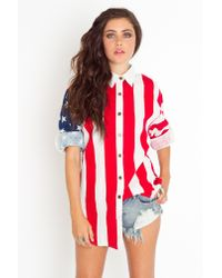 Nasty Gal | Red Americana Shirt | Lyst