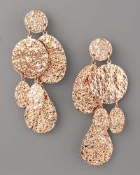 Oscar de la Renta - Pink Hammered Disc Clip Earrings - Lyst