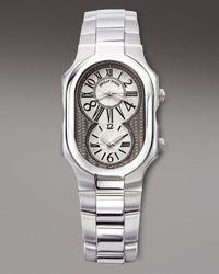 Philip Stein | Metallic Dual Time Zone Bracelet Watch for Men | Lyst