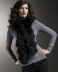 Pologeorgis | Black Tufted Fox Scarf | Lyst