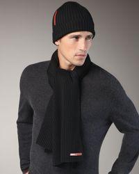 Prada   Knit Scarf, Black for Men   Lyst