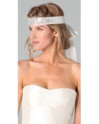 Reem Acra - White Wide Crystal Headband / Belt - Lyst