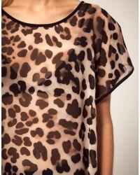 River Island | Black Leopard Chiffon Top With Dip Hem | Lyst