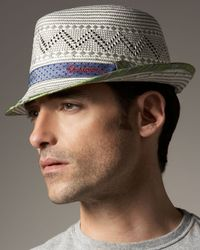 Robert Graham | White Bruno Straw Fedora for Men | Lyst