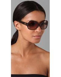 Tory Burch - Brown Rectangle Butterfly Sunglasses - Lyst