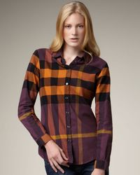 Burberry Brit | Purple Check Flannel Shirt | Lyst