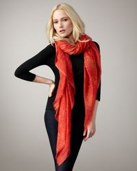 Stella McCartney | Python-print Scarf, Electric Red | Lyst