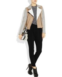 DKNY - Brown Color-block Leather Biker Jacket - Lyst