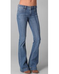 Free People | Blue Midrise Pintuck Flare Jeans | Lyst