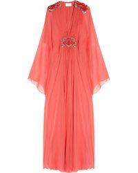 Marchesa - Pink Appliquéd silk-chiffon gown - Lyst