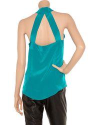 Sunner   Blue Florent Open-back Ruffled Silk Top   Lyst