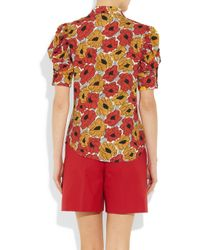 Saint Laurent | Red Poppy-print Crepe Blouse | Lyst