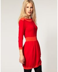 ASOS Collection | Red Asos Knitted Dress with Boat Neck | Lyst