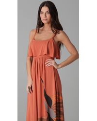 Free People | Brown Flock Of Birds Maxi Dress | Lyst