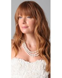 Kenneth Jay Lane - White 3 Row Pearl Necklace - Lyst