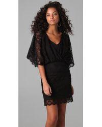 Beyond Vintage - Black Lace Batwing Mini Dress - Lyst