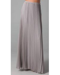 Halston | Gray Long Pleated Skirt | Lyst
