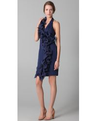Notte by Marchesa - Blue Halter Dress with Ruffle - Lyst