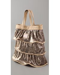 RED Valentino - Metallic Sequin Tiered Tote - Lyst