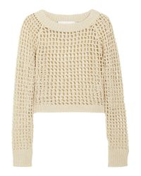 A.L.C. | Natural Cropped Open-knit Cotton-blend Sweater | Lyst