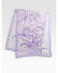 Armani | Purple Watercolor Fern Print Scarf | Lyst