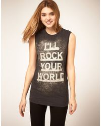 "ASOS Collection | Black Vest ""Ill Rock Your World"" 