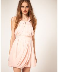 ASOS Collection | Pink Asos Grecian Dress with Bubble Hem | Lyst