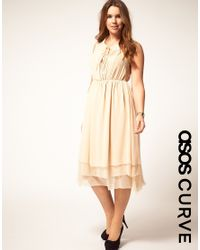 ASOS Collection | Natural Asos Curve Midi Dress with Peter Pan Collar | Lyst