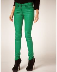 ASOS Collection | Asos Green Coated Coloured Skinny Jeans | Lyst