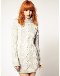 DIESEL - Gray Diesel Cable Knit Jumper Dress - Lyst
