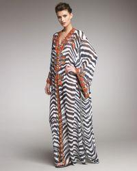 Emilio Pucci - Black Coral-beaded Zebra-print Caftan - Lyst