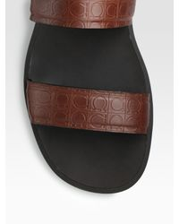 Ferragamo | Brown Dolce 3 Stamped Leather Sandals for Men | Lyst