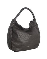 Furla | Brown Coffee Ostrich Embossed Leather Pompidou Tote | Lyst