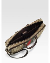 Gucci - Natural Canvas & Leather Briefcase for Men - Lyst