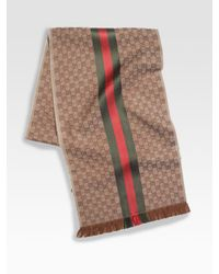Gucci - Brown Gg Jacquard Knit Scarf for Men - Lyst
