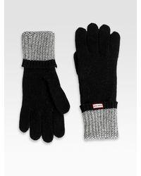 Hunter | Black Herringbone-inspired Fold Cuff Gloves | Lyst
