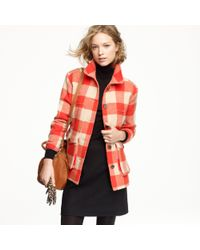 J.Crew | Red Stadium-cloth Car Coat in Buffalo Plaid | Lyst